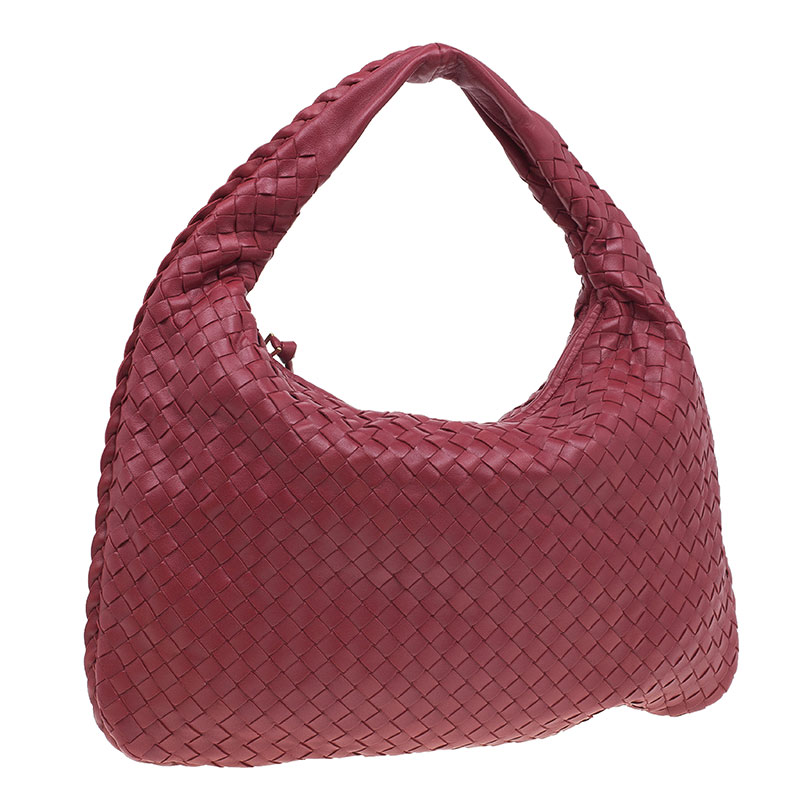 Bottega Veneta Red Leather Small Intrecciato Nappa Hobo