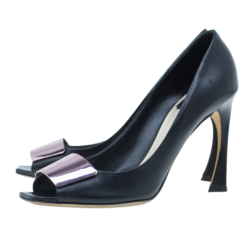 Dior Black Leather Declinaison Defile Open Toe Pumps Size 39