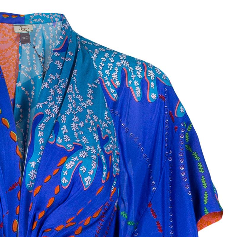 Issa Printed Silk Chiffon Kimono Maxi Dress M