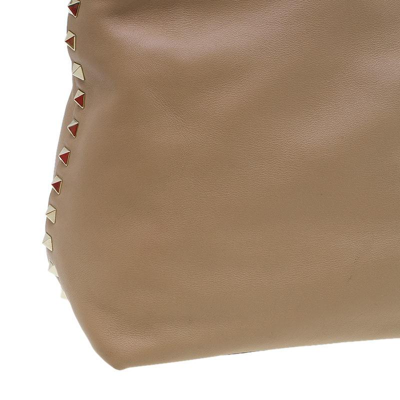 Valentino Beige Leather Rockstud Dome Double Handle Bag