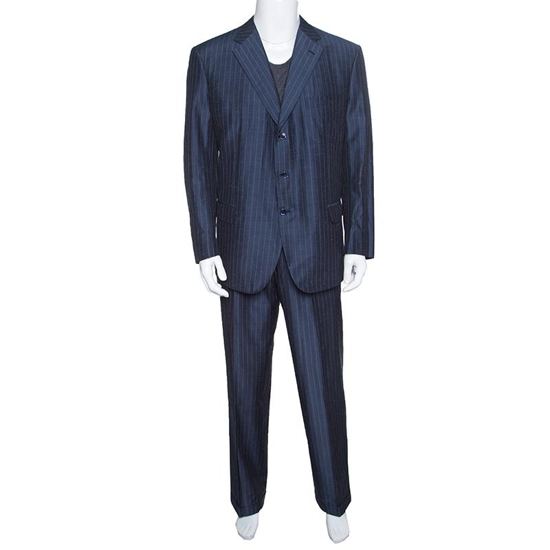 Купить со скидкой Brioni Grey Striped Slub Silk and Mohair Tailored Suit 3XL