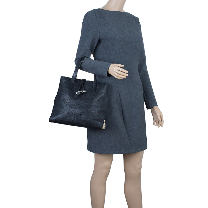 Burberry Black Leather Small Horn Toggle Tote Bag