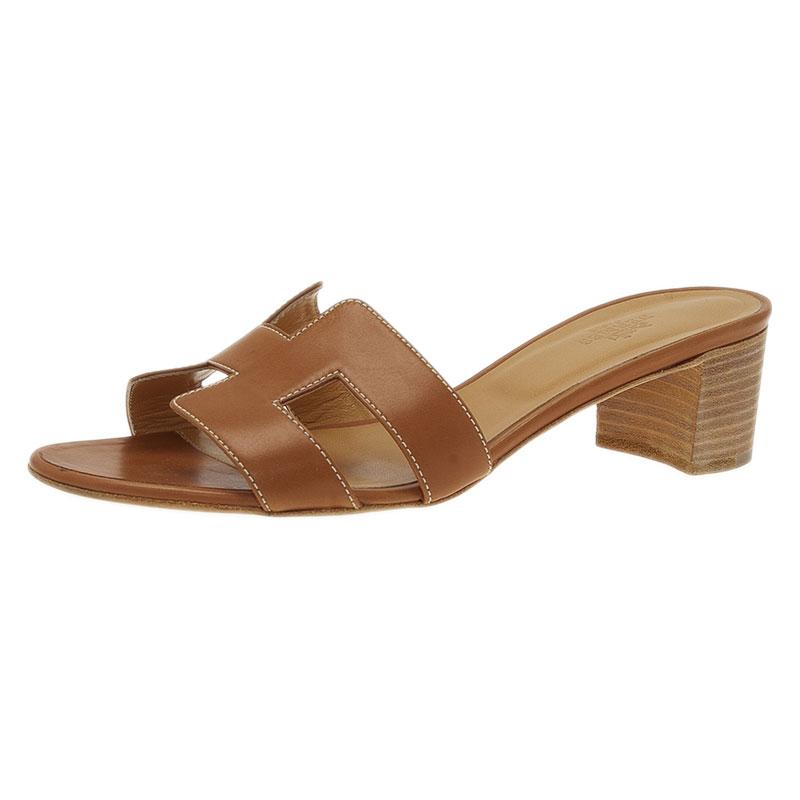 Hermes Brown Leather Oasis Slides Size 39