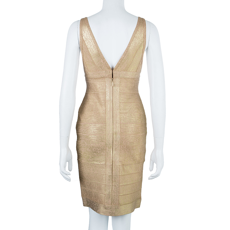 Herve Leger Champagne Bodycon Dress M