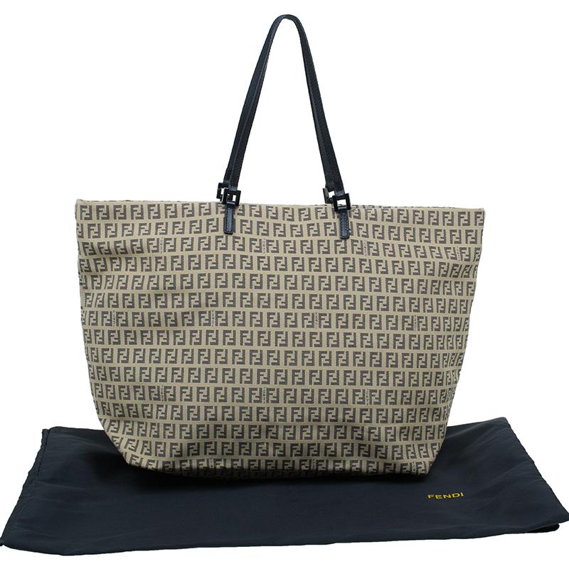 Fendi Beige and black Zucchino Roll Tote Shopper bag