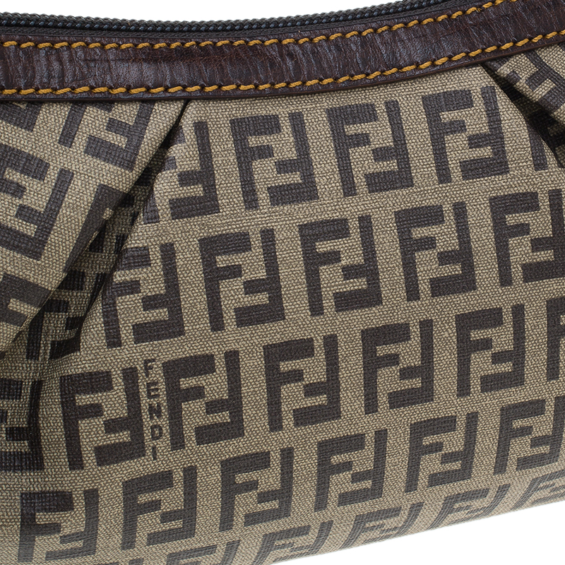 Fendi Zucchino Coated Canvas Baguette Small Shoulder bag