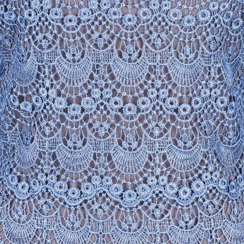 Tadashi Shoji Cornflower Blue Guipure Lace Gown S