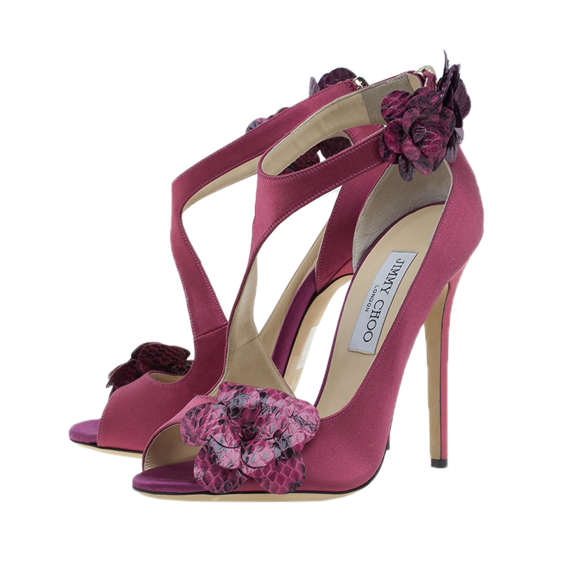 Jimmy Choo Pink Satin Sandals Size 38