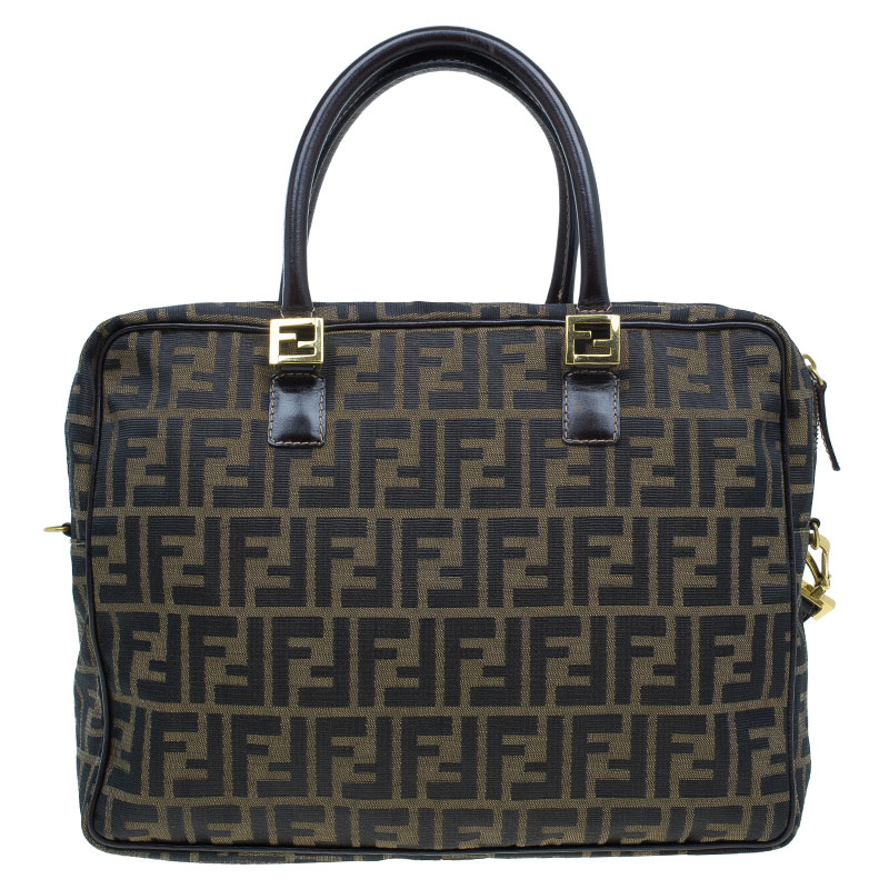 Fendi Tobacco Zucca Briefcase Shoulder Bag