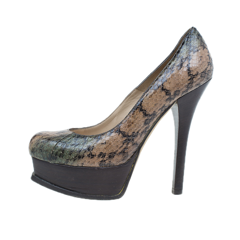 Fendi Brown Python Fendista Platform Pumps Size 37
