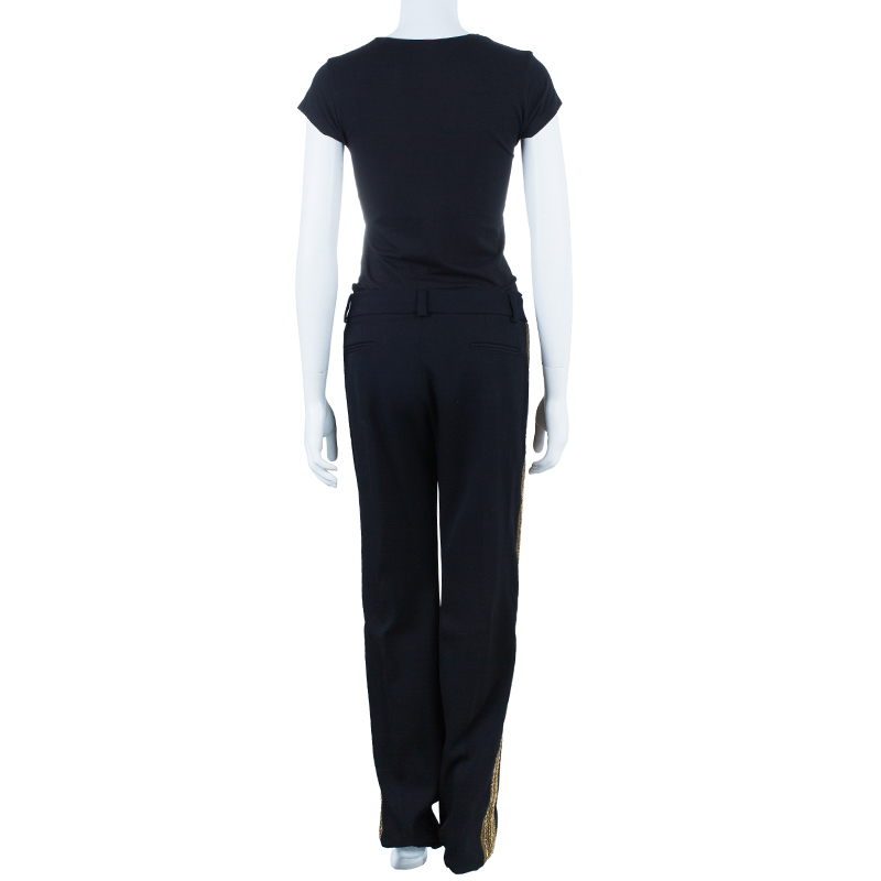 Chloe Black Zardozi Embroidered Trousers M
