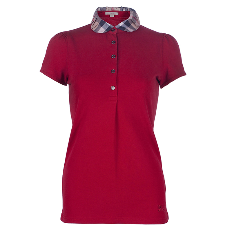 Burberry Red Novacheck Collar Polo Shirt S