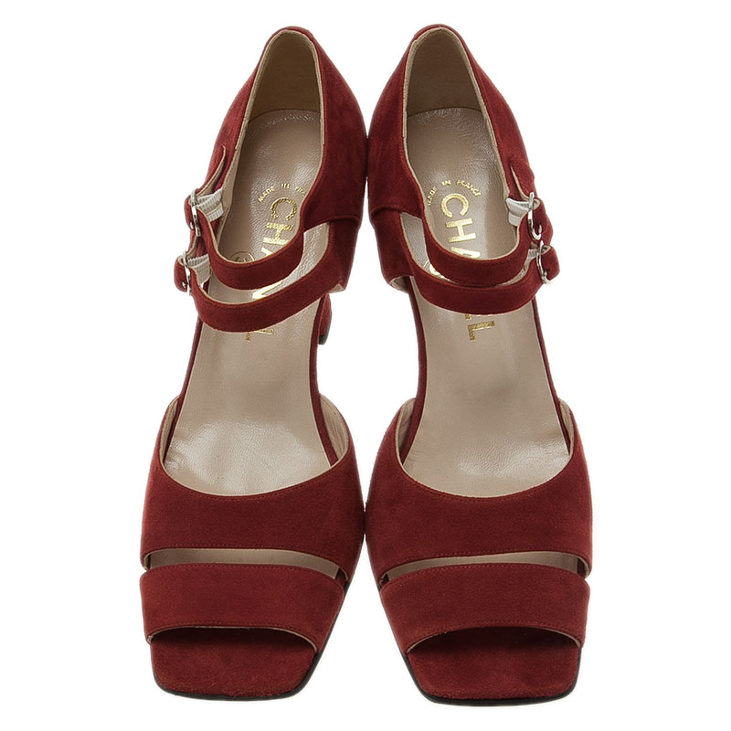 Chanel Red Suede Mary Jane Pumps Size 37
