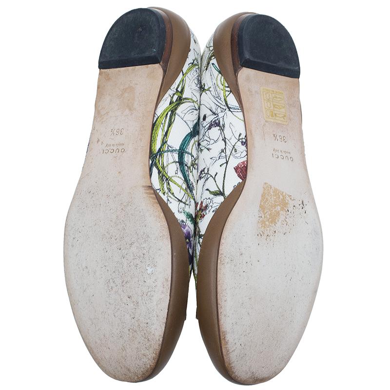 Gucci White Flora Canvas Horsebit Ballet Flats Size 36.5