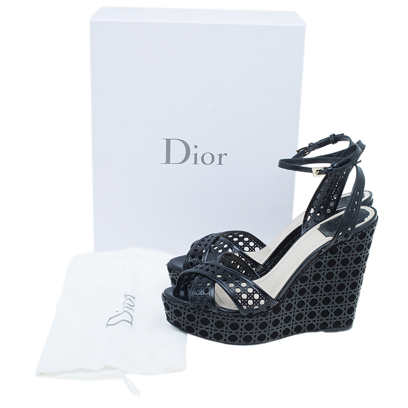 Dior Black Leather Cannage Cutout Ankle Strap Wedges Size 40