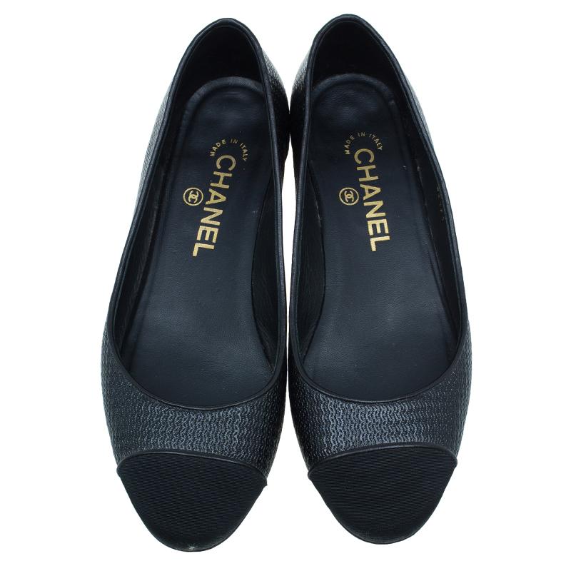 Chanel Black Leather Cap Toe Ballet Flats Size 37.5