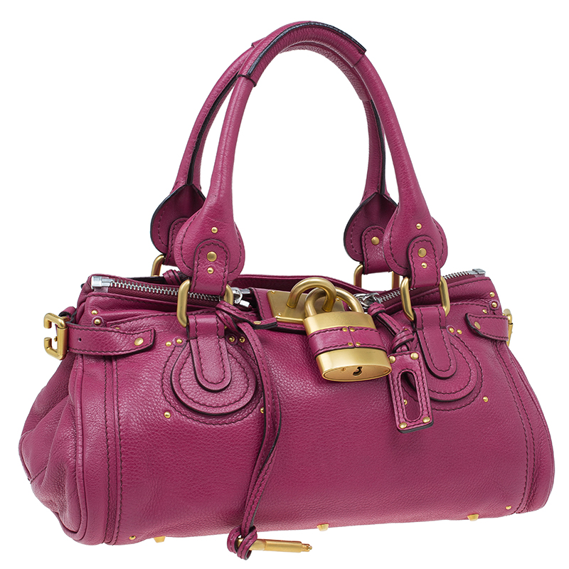 Chloe Dark Fuchsia Leather Medium Paddington Satchel Bag