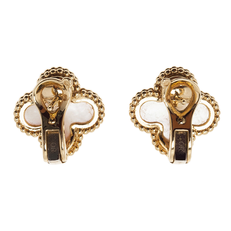 Van Cleef & Arpels Vintage Alhambra Mother of Pearl Yellow Gold Clip Earrings