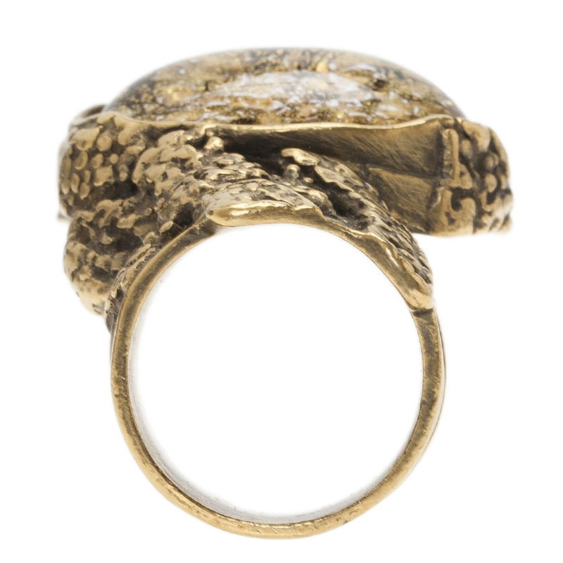Saint Laurent Paris Arty Gold Gold Tone Ring Size 54.5