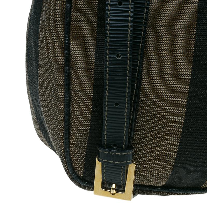 Fendi Black Brown Pequin Canvas Shoulder Bag