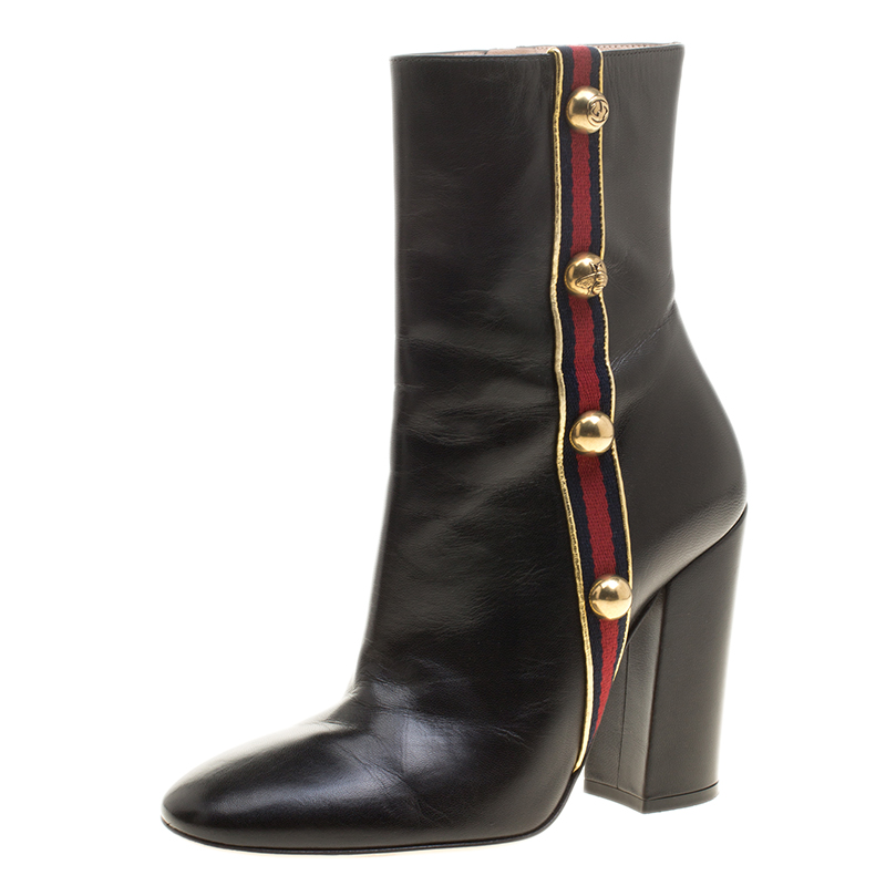 5319c08c4 Gucci Black Leather Carly Malaga Studded Web Detail Block Heel Ankle Boots  Size 37.5. nextprev. prevnext