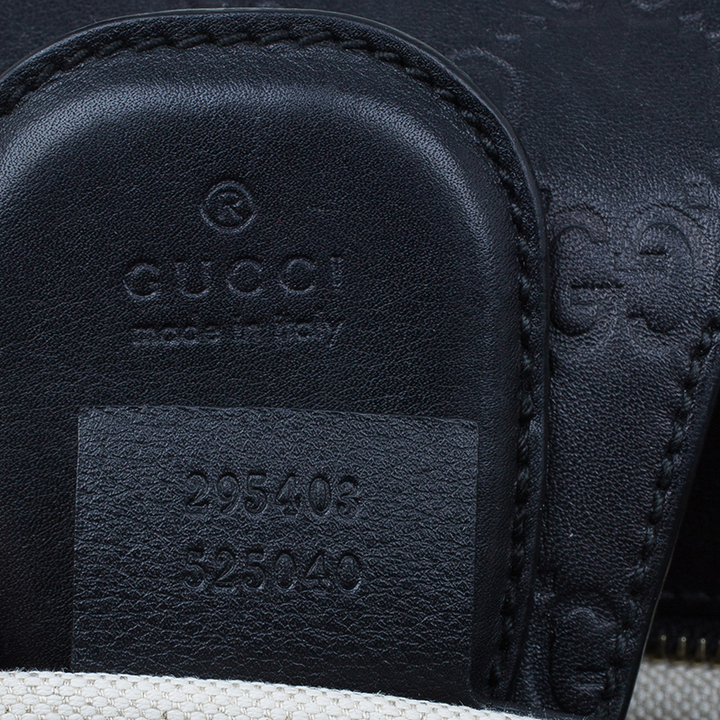 Gucci Black Leather Monogram Guccissima Emily Chain Shoulder Bag