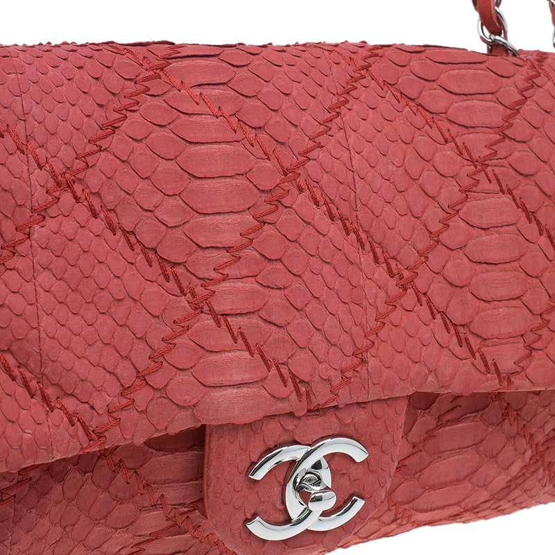 Chanel Red Python Leather East/West Classic Flap Bag