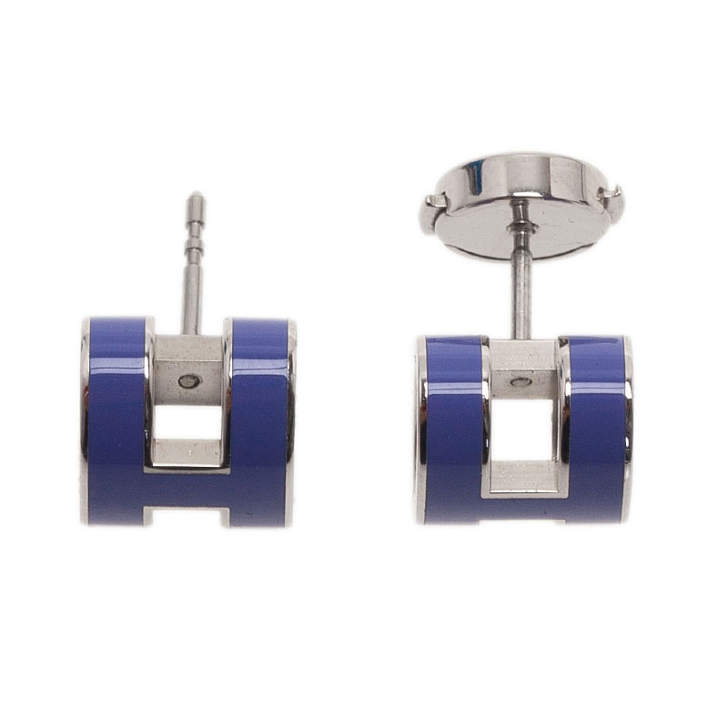 Hermes Pop H Blue Lacquer Earrings