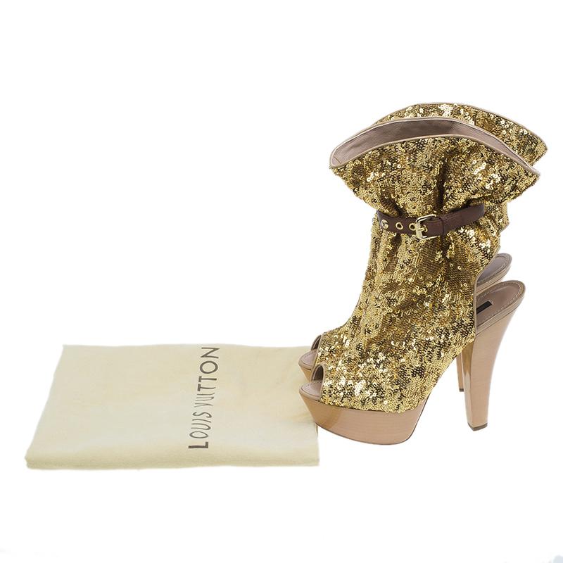 Louis Vuitton Gold Sequins Peep Toe Platform Ankle Boots Size 39