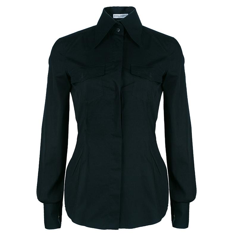 Dolce And Gabbana Black Cufflink Detail Shirt S