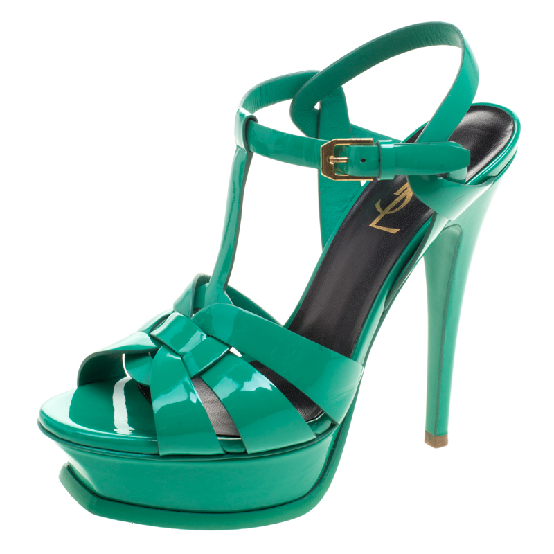203696510b0f0 Yves Saint Laurent Green Leather Tribute Platform Sandals Size 36. nextprev.