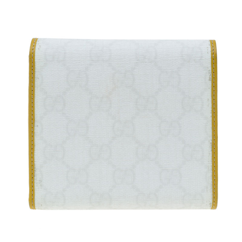 Gucci White Guccissima Canvas and Leather Compact Wallet