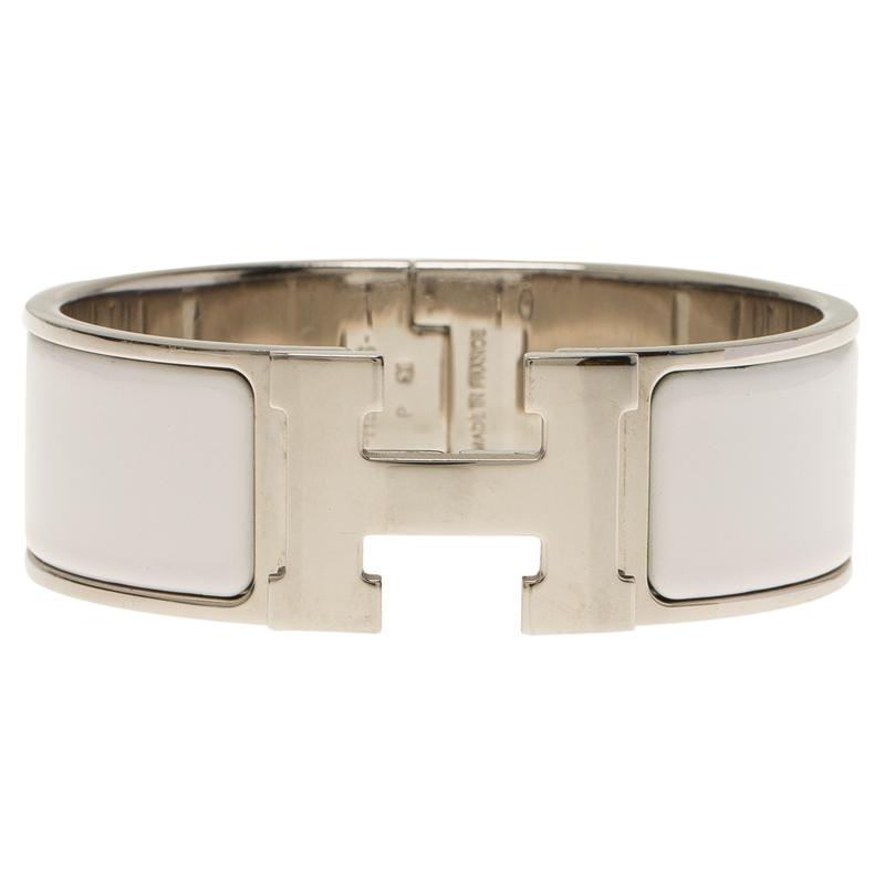 hermes clic clac h wide white enamel palladium plated bracelet buy sell lc