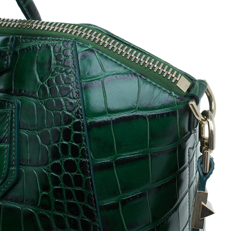 Givenchy Green Crocodile Leather Medium Antigona Satchel Bag