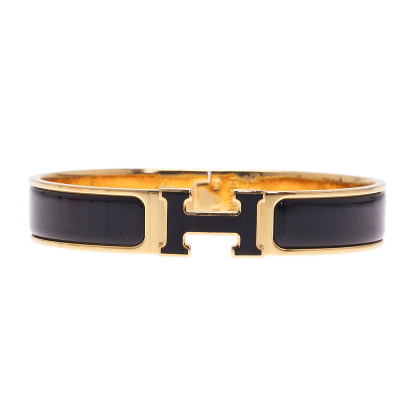 Hermes Clic Clac H Black Enamel Gold - Plated Bracelet