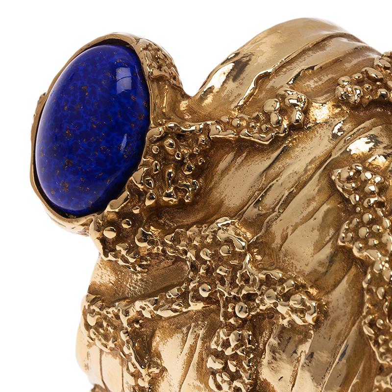 Saint Laurent Paris Arty Blue Gold Tone Bangle Bracelet