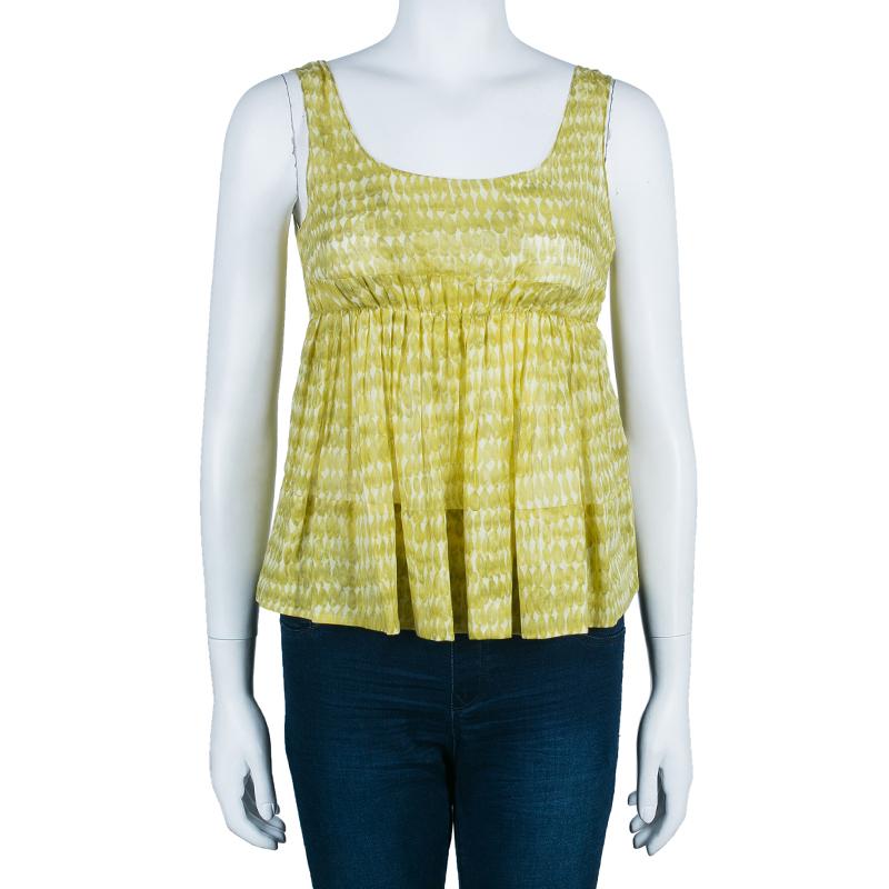 Marni Yellow Cotton Printed Sleeveless Top S
