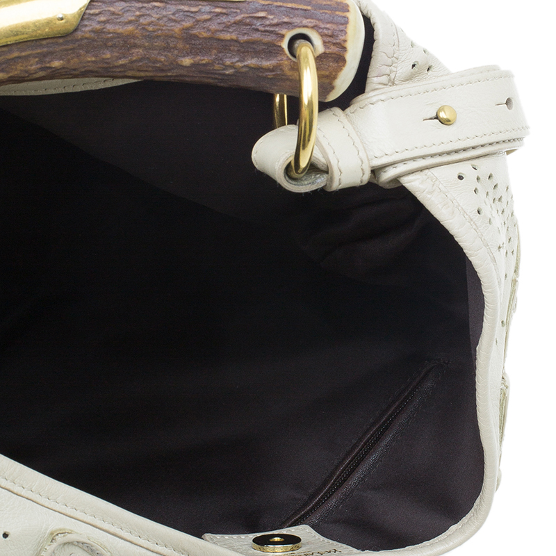 Saint Laurent Paris Cream Leather Limited Edition Mombasa Horn Hobo Bag