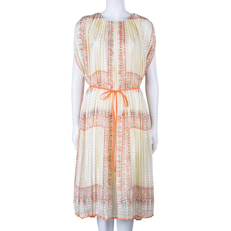 Chloe Orange Foulard Print Pleated Silk Dress M