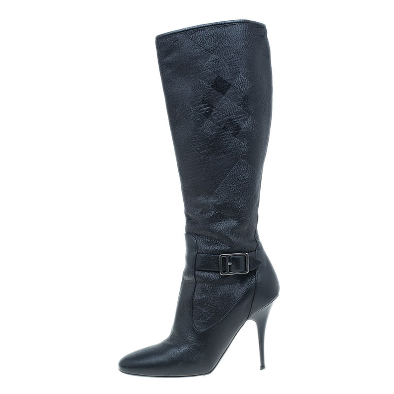 Burberry Black Jacquard Buckle Heel Knee Boots Size 36.5