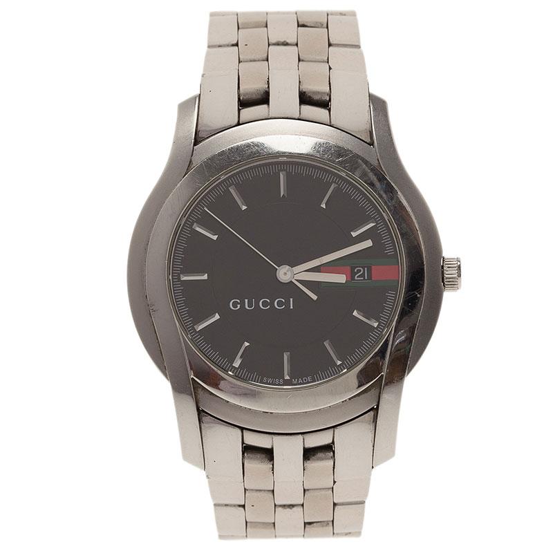 Gucci Black Stainless Steel 5500XL Men's Wristwatch 38MM