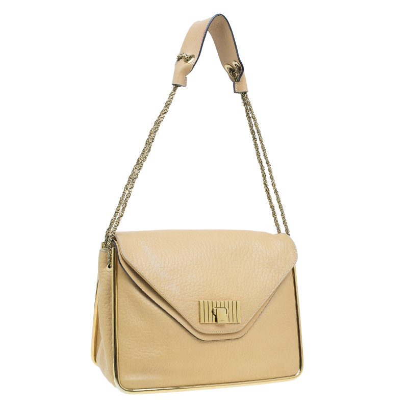 Chloe Camel Leather Medium Sally Crossbody Bag