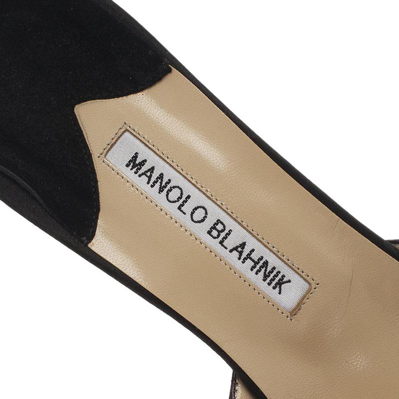 Manolo Blahnik Black Satin Hangisi Mules Size 40.5