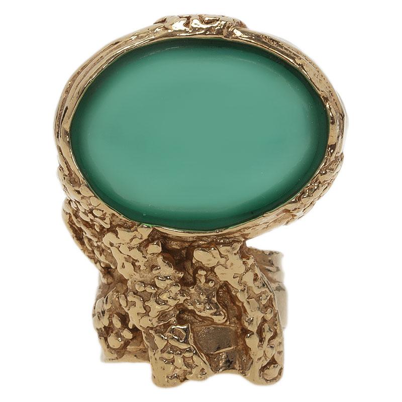 Saint Laurent Paris Arty Turquoise Gold Tone Ring Size 52