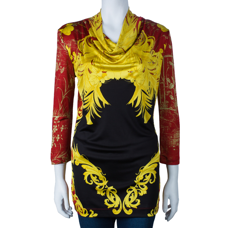 Class by Roberto Cavalli Multicolor Printed Long Sleeve Top L