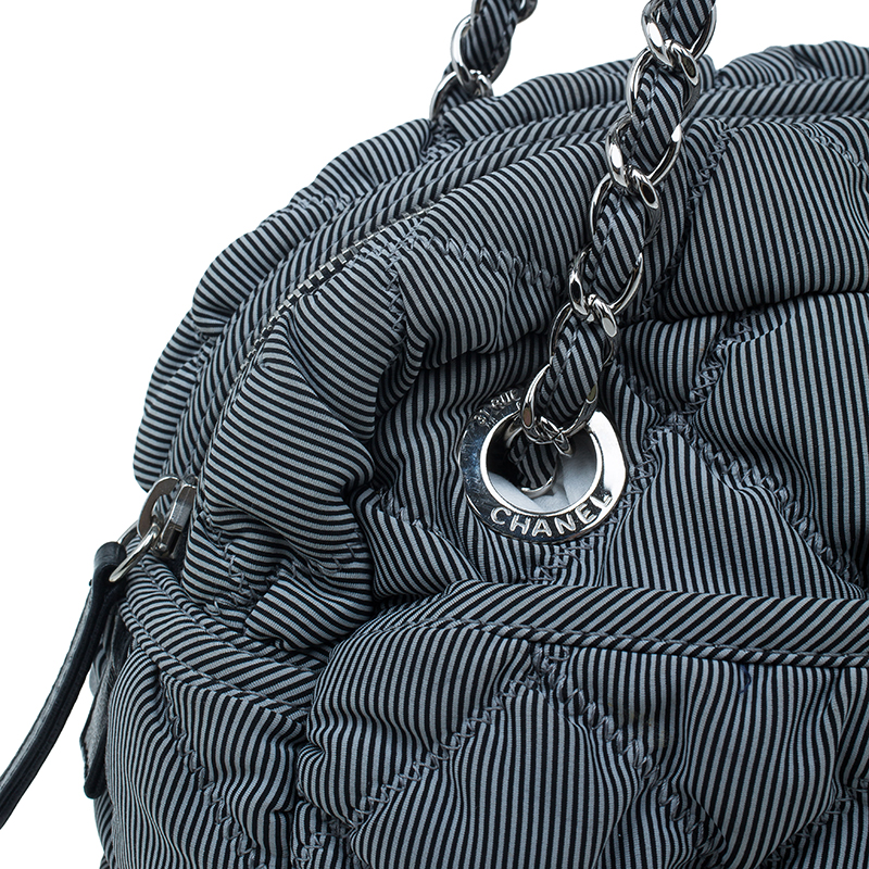 Chanel Grey Quilted Fabric Bubble Camera Bag