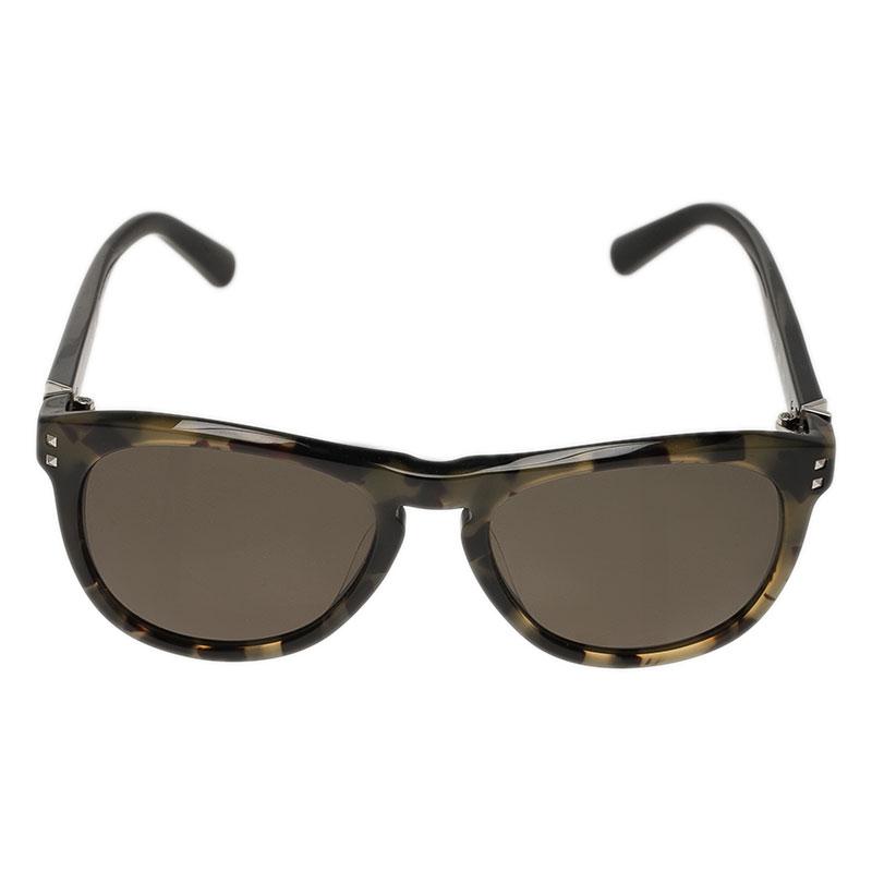 Valentino Green Tortoise Frame 652S Round Sunglasses