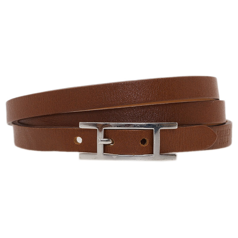 Hermes Hapi 3 MM Brown Leather Bracelet