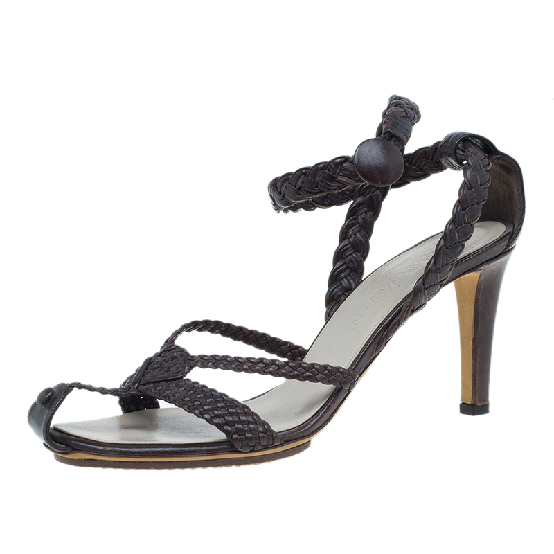 Saint Laurent Paris Brown Braided Leather Sandals Size 38