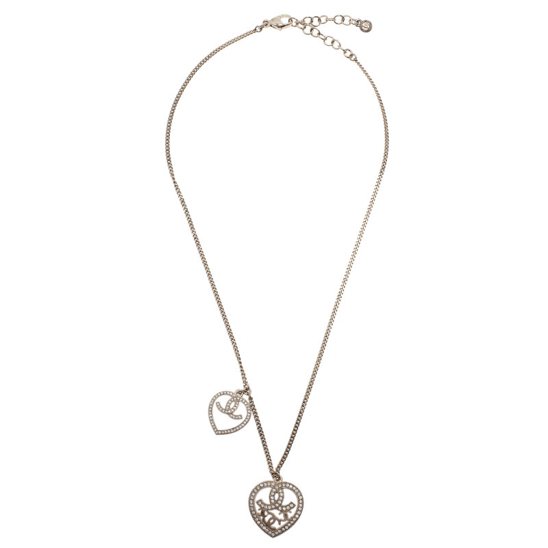Chanel CC Love Crystal Gold Tone Necklace